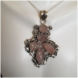 "Jewelry - Huge Natural Rough Rose Quartz Pendant 3"" long"